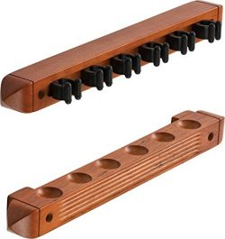 Fat Cat 2-Piece Wall Mounted Hardwood Billiard/Pool Cue Rack, Holds 6 Cues