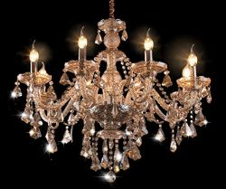 Cognac 8 Lights Modern Luxurious K9 Crystal Chandelier,Candle Pendant Lamp Ceiling Living Room L ...
