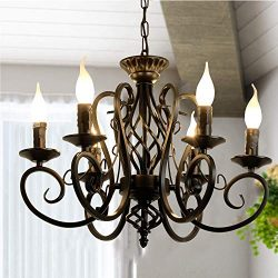 Ganeed Rustic French Country Chandelier,6 Lights Farmhouse Candle Iron Chandeliers,Vintage Metal ...