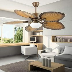 AndersonLight Fan Tropical Palm Ceiling Fan, Five Palm Leaf Blades With LED Light, New Bronze, 5 ...