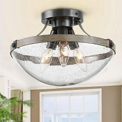 LOG BARN Farmhouse Semi Flush Mount Ceiling Light with Seeded Glass, Close to Ceiling Light Fixt ...