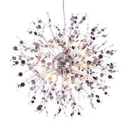 GDNS 12 Pcs Lights Chandeliers Firework LED Light Stainless Steel Crystal Pendant Lighting Ceili ...