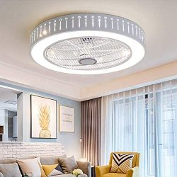 Ganeep LED Round Modern Ceiling Fan Lights Dining Room Bedroom Living Remote Control Fan Lamps I ...