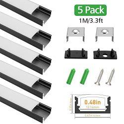 LightingWill 5-Pack 3.3ft/1M 9x17mm Black U-Shape Internal Width 12mm LED Aluminum Channel Syste ...