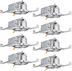 TORCHSTAR 8-Pack 6 Inch Shallow New Construction LED Recessed Housing, IC Rated & Air Tight  ...