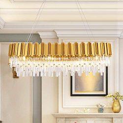 MEELIGHTING W43.3″ Dining Room Modern Crystal Chandelier Lights Luxury Pendant Ceiling Lig ...