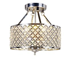 New Galaxy 4-light Chrome Finish Round Metal Shade Crystal Chandelier Semi-Flush Mount Ceiling F ...