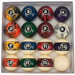 GSE Games & Sports Expert 2 1/4-Inch Professional Regulation Size Marble Swirl Style Billiar ...