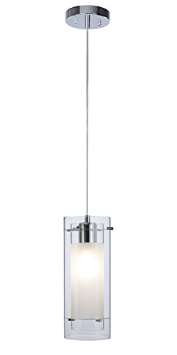 Pendant Lighting Contemporary 1 Light Pendant Hanging Light with Clear and Frost Glass in Chrome ...