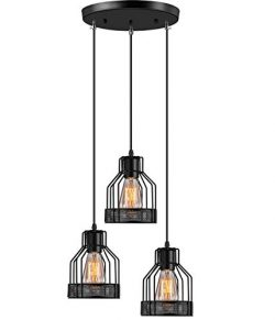 Industrial Pendant Lighting Licperron E26 Base Edison Metal Caged Vintage Hanging Pendant 3-Ligh ...
