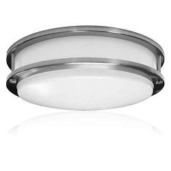 Zip-LED 12″ Surface Mounted LED Light Fixture for Ceiling or Wall in Brushed Nickel, 14W 4 ...