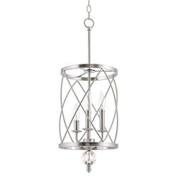 Kira Home Eleanor 13″ 3-Light Modern Foyer Light Pendant Chandelier, Cylinder Metal Shade, ...
