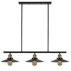 3-Light Kitchen Island Pendant Lighting Industrial Rustic Chandelier, Matte Black Finish, Vintag ...