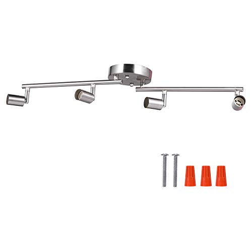 4-Light Adjustable LED Dimmable Track Lighting Kit by AIBOO,Flexible Foldable Arms,Satin Nickel  ...