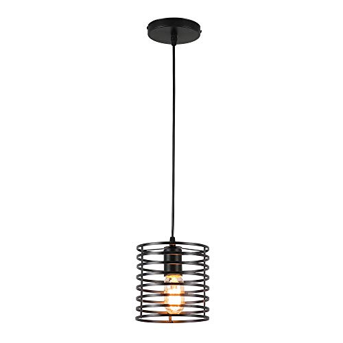 Round Black Cage Mini Pendant Light,Modern Industrial Edison Style Hanging Lighting Fixture for  ...