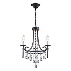 ANJIADENGSHI Modern Crystal Chandelier 3 E12 Bulbs with Adjustable Hanging Light Fixture for Din ...