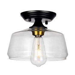 HMVPL Glass Close to Ceiling Light, Modern Semi Flush Mount Pendant Lighting Fixtures for Kitche ...