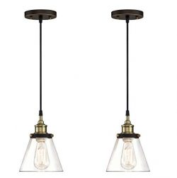 WISBEAM Pendant Lighting Fixture with Oil Rubbed Bronze and Brass Finish, Hanging Lights with On ...