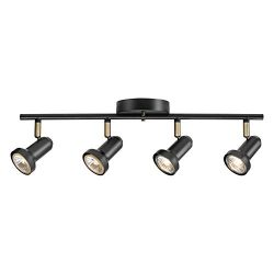 Globe Electric 59443 Melo 4 Track Lighting, Antique Brass Accents, Bulbs Included, 5.31″,  ...