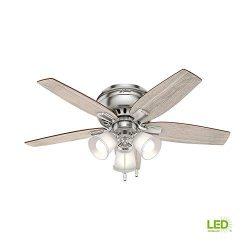 Hunter Echo Bluff 42 in. LED Indoor Brushed Nickel Flush Mount Ceiling Fan