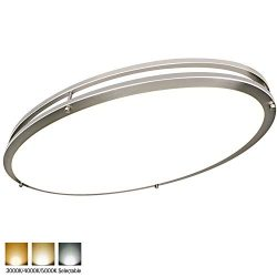 Hykolity 32 Inch Oval LED Ceiling Light, 35W [300W Equivalent] 3100LM,3000K/4000K/5000K BN Finis ...