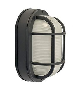 CORAMDEO Outdoor Large Oval LED Bulkhead Light, Flush Mount for Wall or Ceiling, Wet Location, B ...