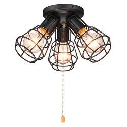 Industrial Close to Ceiling Light with Pull Chain, 3 Lights Modern Farmhouse Metal Wire Cage Sem ...