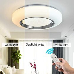 Smart LED Ceing Light Contemporary 20-Inch Flush Mount Fixture with Remote Control 3960LM Auffel ...