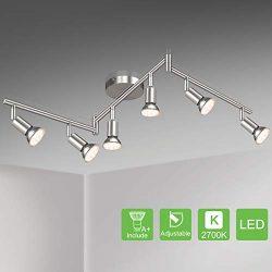 Unicozin LED 6 Light Track Lighting Kit, Matte Nickel 6 Way Ceiling Spot Lighting, Flexibly Rota ...