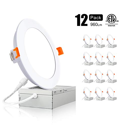 Ensenior 12W 6 Inch Slim LED Recessed Downlight with Junction Box, 4000K Cool White, Dimmable Ca ...