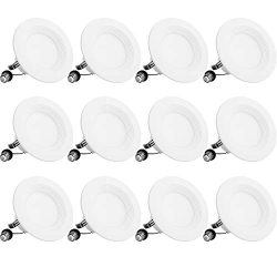Bbounder Lighting 12 Pack 4 Inch LED Recessed Downlight, Baffle Trim, Dimmable, 9W=70W, 3000K Wa ...