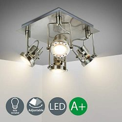 DLLT Modern Track Lighting Kit, 4-Light Industrial Tracking Light Fixtures, Adjustable Flush Mou ...