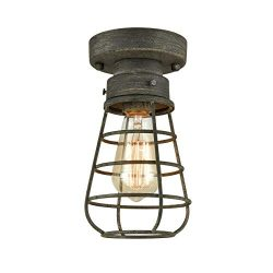 Rustic Ceiling Lights Metal Caged Mini Close to Ceiling Lamp with Unique Rust Finish