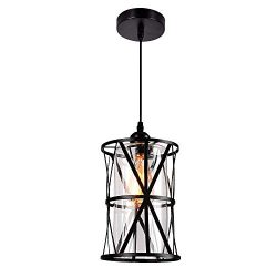 HMVPL Pendant Lighting Fixtures, Black Farmhouse Hanging Chandelier Lights with Glass Shade, Min ...