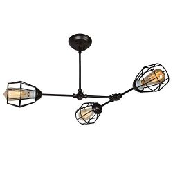 Baiwaiz Industrial Semi Flush Mount Lighting, Adjustable Metal Wire Cage Ceiling Light Bronze Co ...