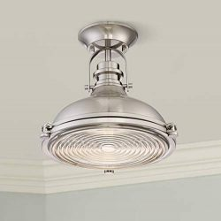 Verndale Industrial Ceiling Light Semi Flush Mount Fixture Brushed Nickel Dome 11 3/4″ Wid ...