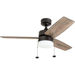 Prominence Home 51015 Reston Farmhouse Ceiling Fan, 42″, Bronze