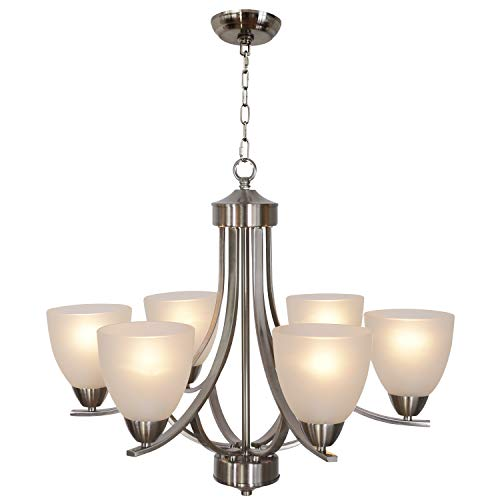 VINLUZ 6 Lights Contemporary Chandeliers Brushed Nickel Modern Pendant Light Fixtures Hanging In ...