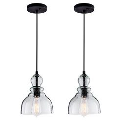 Lanros Industrial Mini Pendant Lights with Handblown Clear Seeded Glass Shade, Adjustable Bell P ...