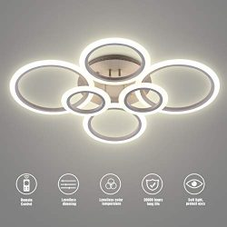 LED Ceiling Light,VANDER Life 72W LED Ceiling Lamp 6400LM White 6 Rings Lighting Fixture for Liv ...