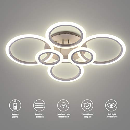 LED Ceiling Light,VANDER Life 72W LED Ceiling Lamp 6400LM White 6 Rings Lighting Fixture for Liv ...