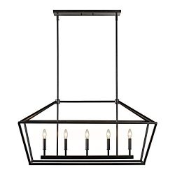 MOTINI 5-Light Kitchen Island Lantern Pendant Linear Chandelier Black Rod Hanging Light 40″ ...