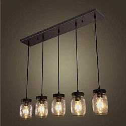 Wellmet Farmhouse Chandelier Glass Mason Jar Adjustable, 5-Light Dining Room Lighting Fixtures H ...