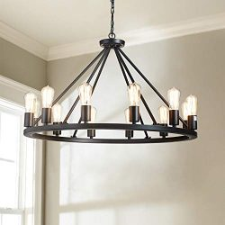 Saint Mossi Antique Painted Metal Chandelier Lighting Black Finish 12 Lights Chandelier, Diam 32 ...