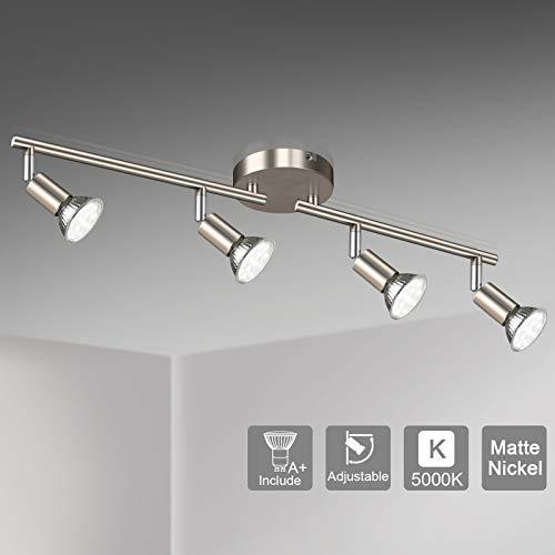 Unicozin LED 4 Light Track Lighting Kit, Matte Nickel 4 Way Ceiling Spot Lighting, Flexibly Rota ...
