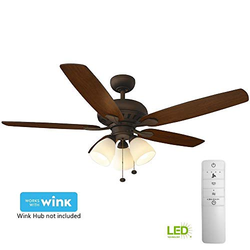Hampton Bay Rockport 52 in. LED Indoor Oil Rubbed Bronze Smart Ceiling Fan with Light Kit and WI ...