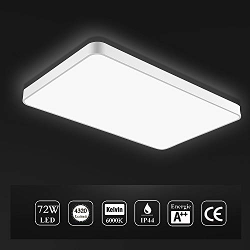 Viugreum LED Flush Mount Ceiling Light, 72W 4320 Lumens Square Panel Light, 6000K (Daylight Whit ...