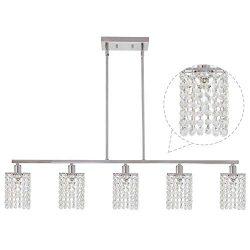 BONLICHT Modern Crystal Chandelier Lighting 5 Lights Luxury Chrome K9 Crystal Raindrop Pendant L ...