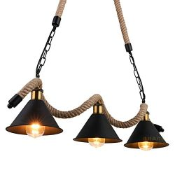 Kehuashina 34.6″Rustic Chandelier for Dining Room, 8 Light Pendant Lighting, Island Light  ...