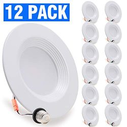 12 Pack, LED Recessed Lighting 6/5 inch Downlight, 10.5W (85W Replacement), Dimmable Recessed Re ...